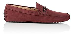 Tod's MEN'S BIT-DETAILED SUEDE DRIVERS - WINE SIZE 8 M