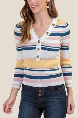 francesca's Baylee Button Front Pullover Sweater - Sunshine