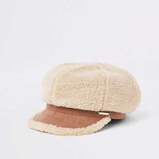 River Island Womens Light Brown borg baker boy hat