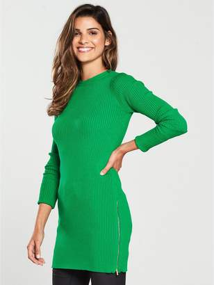 Very Zip Side Skinny Rib Longline Jumper - Green