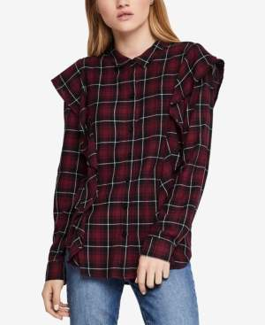 BCBGeneration Ruffled Plaid Shirt