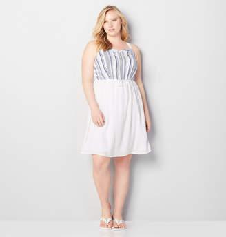 Avenue Denim Striped Bodice Dress