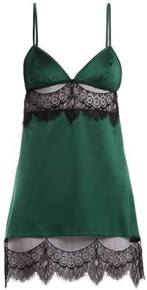 Coco De Mer - Discotheque Lace Trimmed Slip Dress - Womens - Green