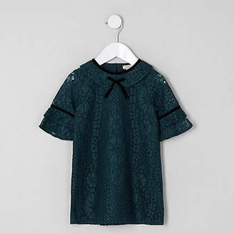 River Island Mini girls green lace shift dress