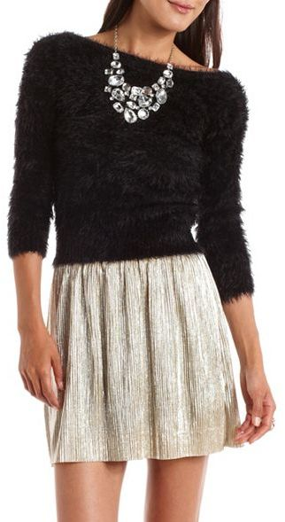 3/4 Sleeve Fuzzy Pullover Sweater