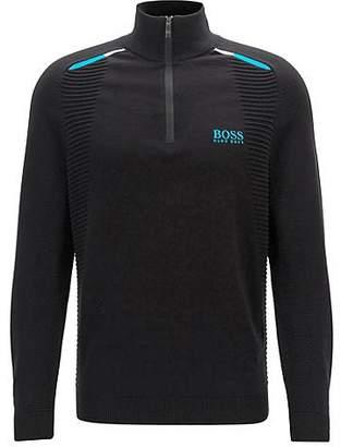 HUGO BOSS Colour-block golf sweater in water-repellent fabric