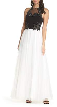 Blondie Nites Applique Mesh Halter Neck Ballgown