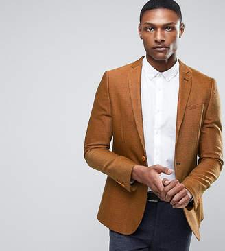 Asos Design TALL Skinny Texture Blazer In Tan Wool Mix