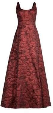 Aidan Mattox Sleeveless Jacquard A-Line Gown
