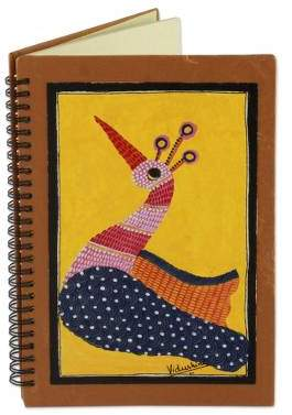 Gond Peacock Handmade India Tribal Folk Art Yellow Peacock Journal