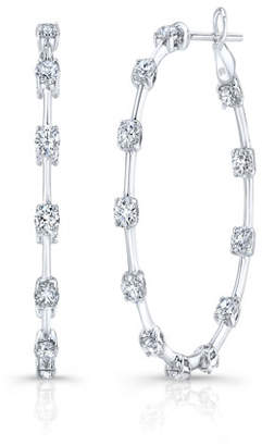 Rahaminov Diamonds 18k White Gold Diamond Bar Hoop Earrings