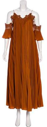 Self-Portrait Pleated Off-The-Shoulder Maxi Dress w/ Tags