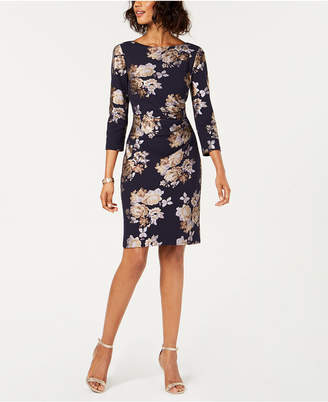 Jessica Howard Metallic Floral Sheath Dress