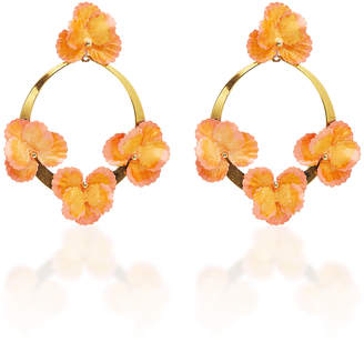 Jennifer Behr Voleta Floral Plated Hoop Earrings
