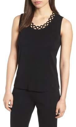 Ming Wang Circle Cutout Tank Top