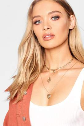 boohoo Locket & Sovereign Layered Necklace