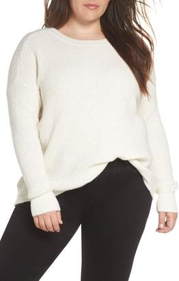 1 STATE 1.STATE Lace-Up Back Waffle Stitch Sweater