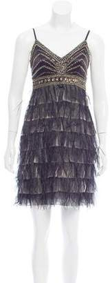 Sue Wong Feather-Trimmed Mini Dress