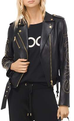 MICHAEL Michael Kors MICHAEL Studded Leather Moto Jacket
