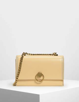 Charles & Keith Chain & Strap Push Lock Shoulder Bag