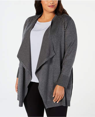 JM Collection Plus Size Studded Cardigan