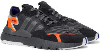 adidas Nite Jogger Suede and Rubber-Trimmed Mesh and Ripstop Sneakers - Men - Black