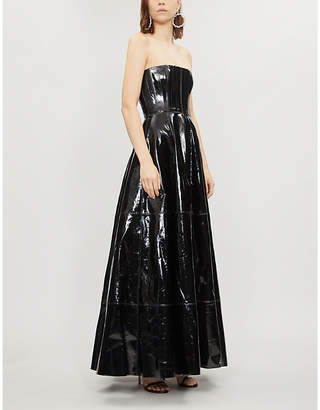 ALEX PERRY Tate strapless patent-leather gown