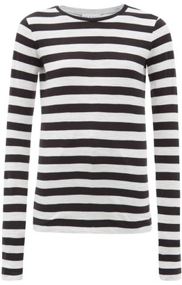 Raey Long Sleeved Striped Slubby Cotton Jersey T Shirt - Womens - Black Stripe