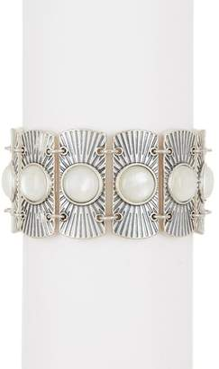 Lucky Brand Bezel Set Opalescent Enamel Statement Bracelet