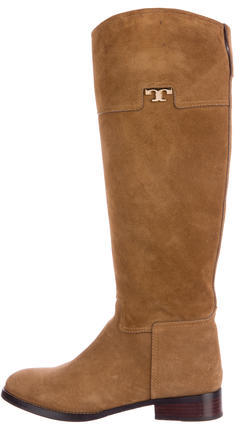 Tory BurchTory Burch Suede Round-Toe Knee-High Boots