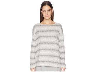 Eileen Fisher Cotton Tencel Gradient Stripe Ballet Neck Boxy Tee