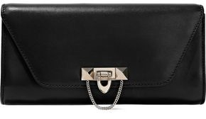 Valentino Stud-embellished Leather Clutch