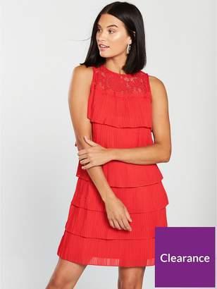 Little Mistress Lace Top Tiered Mini Dress - Red