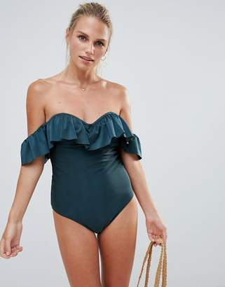 French Connection Off Shoulder Ruffle Swimsuit