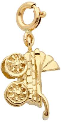 14K Yellow Gold Baby Carriage Charm
