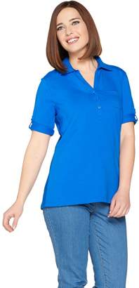 Denim & Co. Essentials Short Sleeve Roll Tab Polo Top