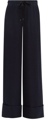 Roland Mouret Betterton Checked Jacquard Silk Trousers - Womens - Navy