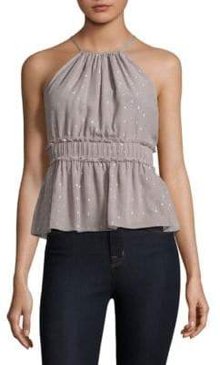 Joie Shawnette Metallic Embellished Silk Halter Top