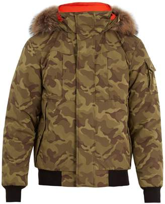 H&M KANUK Corbeau H/M fur-trimmed camouflage bomber jacket