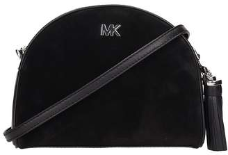 Michael Kors Half Moon Bag In Black Leather And Suede