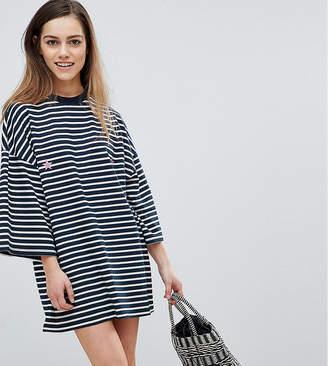 Petite Star Missguided Print Striped T-Shirt Dress