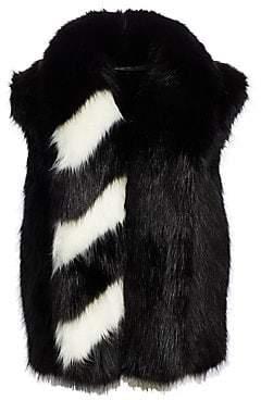 Off-White Women's Faux Fur Striped Gilet