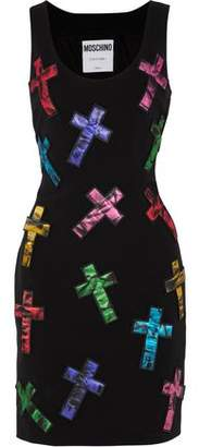 Moschino Printed Satin-Appliquéd Crepe Mini Dress