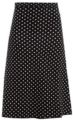 Balenciaga Polka Dot Jacquard Velvet Skirt - Womens - Black White
