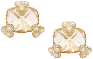 Judith Ripka 14K Clad Champagne Quartz Stud Ear