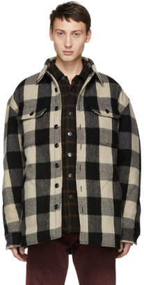 R 13 Black and Beige Buffalo Workshirt Jacket