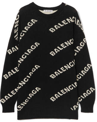 Balenciaga Intarsia Knitted Sweater - Black