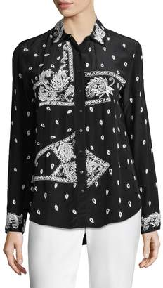 Nicole Miller Women's Bandana Embroidered Boyfriend Top