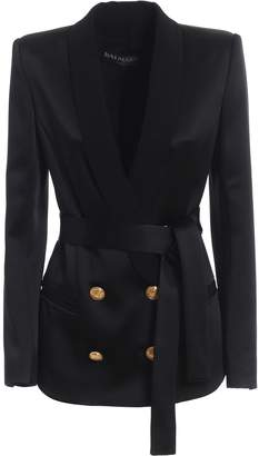 Balmain Shawl Collar Satin Double-breasted Blazer Rf17207207d0pa