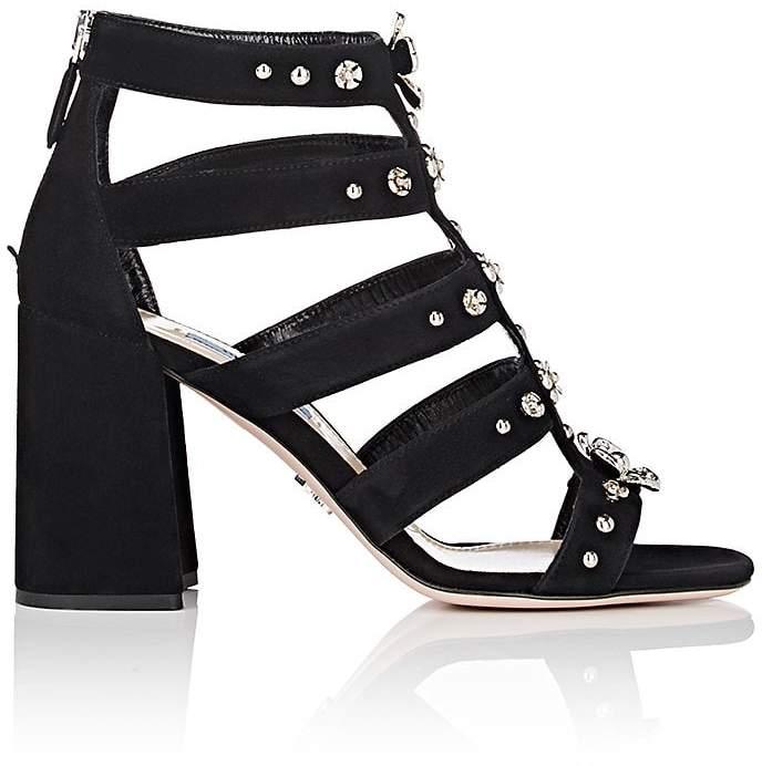 Prada Women's Flower-Embellished Suede Gladiator Sandals
